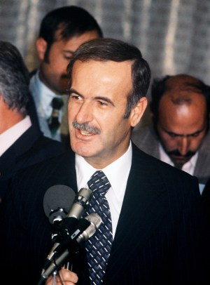 PARIS, FRANCE: Syrian President Hafez al-Assad addresses media 28 November 1977 during his visit to France. Hafez al-Assad died 10 June 2000 of a heart attack in Damascus just before midday, according to medical source. (Photo credit should read AFP/Getty Images)