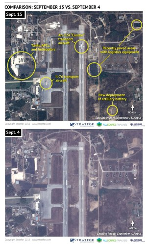 An Airbus Defence and Space satellite image courtesy of Stratfor, a geopolitical intelligence and advisory firm in Austin, Texas, shows the air base at Latakia, Syria on September 4 and September 15, 2015. U.S. officials said on Wednesday the United States had identified a small number of Russian helicopters at a Syrian airfield, the latest addition to what Washington believes is a significant Russian military buildup in the country. Russia has been sending about two military cargo flights a day to an air base at Latakia on the government-controlled Syrian coast, U.S. officials say. REUTERS/www.Stratfor.com/Airbus Defence and Space/Handout