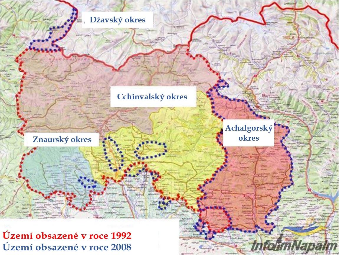 Vymazané hranice Gruzie v důsledku ruské okupace. Pokračování plíživé agrese RF mapa