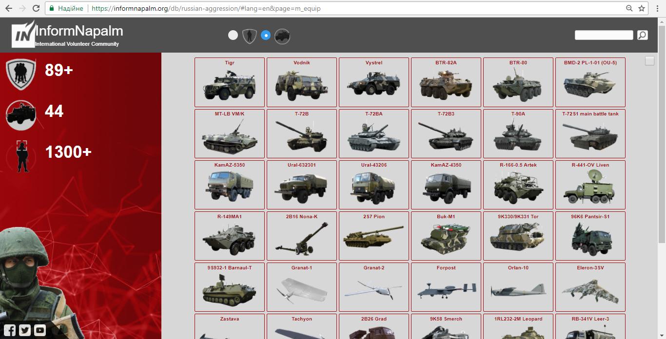 Militærutstyr og kjøretøyer i Donbass