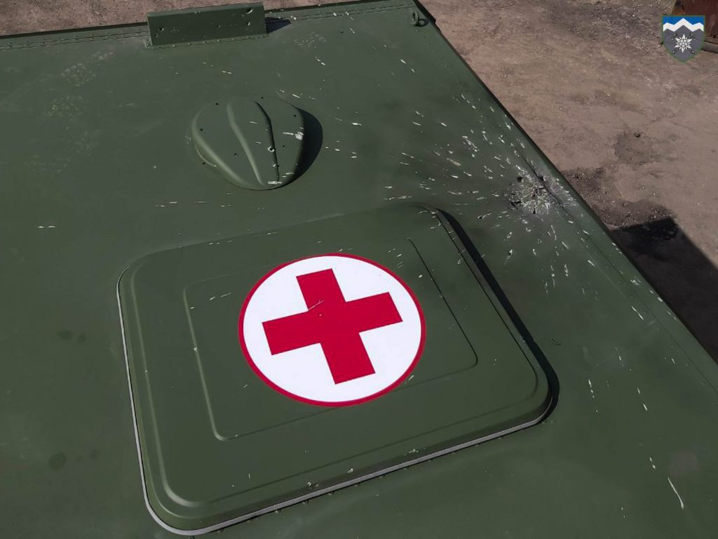 Russisk beskydning med VOG-granater nær landsbyen Hnutove