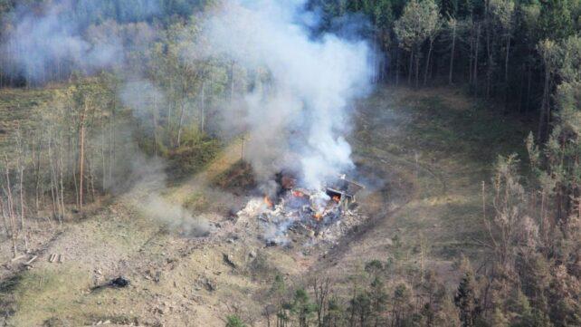 Explosionen förstörde en ammunitionsdepå i en skog