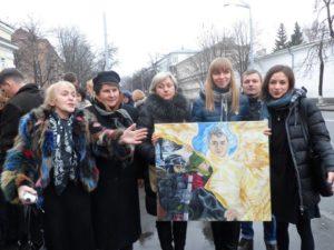 La famille, le 20 février 2015, sur les lieux, place Maïdan… 1 an après…