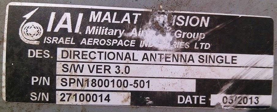 A placa de identificação israelita da antena do drone