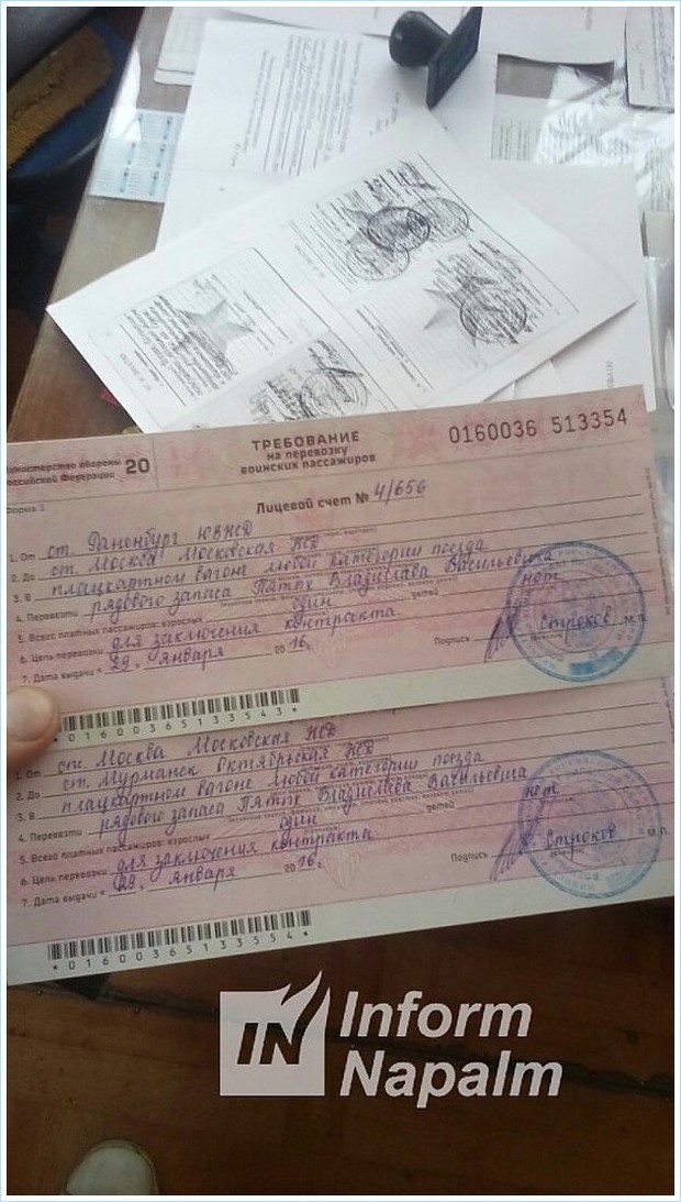 Ryska militära transportdokument