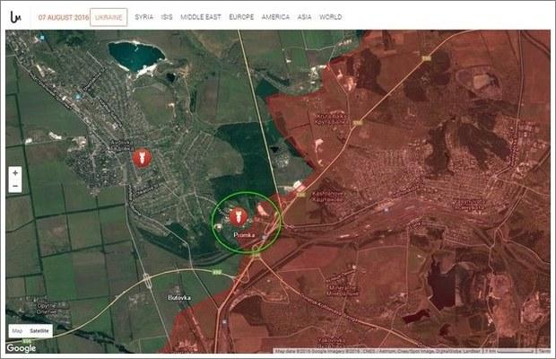 Avdïvka industriområde på en karta