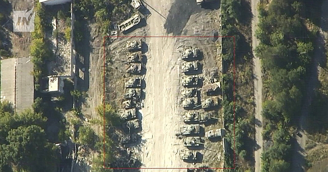 Rysk anhopning av stridsvagnar och haubitsar