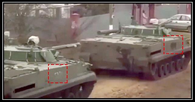 Ryssland flyttar pansarfordon med raderade nummer mot gränsen