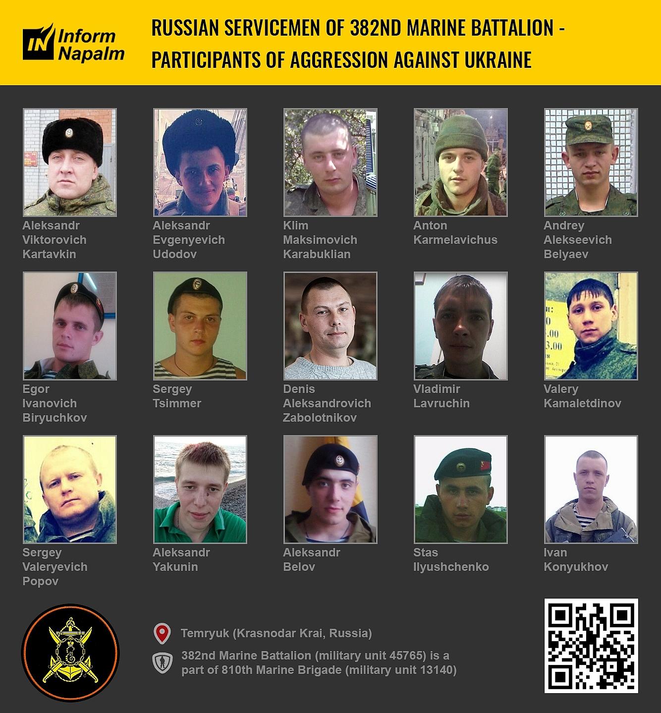 Karadeniz Filosunun 382. Deniz Piyadeleri Taburundan 15 Rus askeri