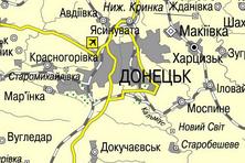Карта населених пунктів Донецкої і Луганскої областей