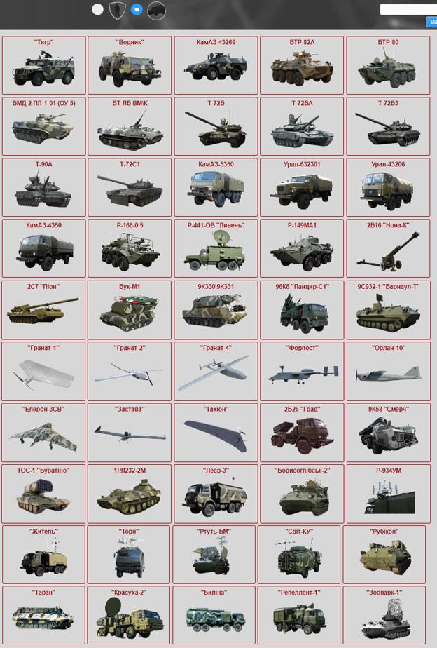 База даних російського озброєння на Донбасі