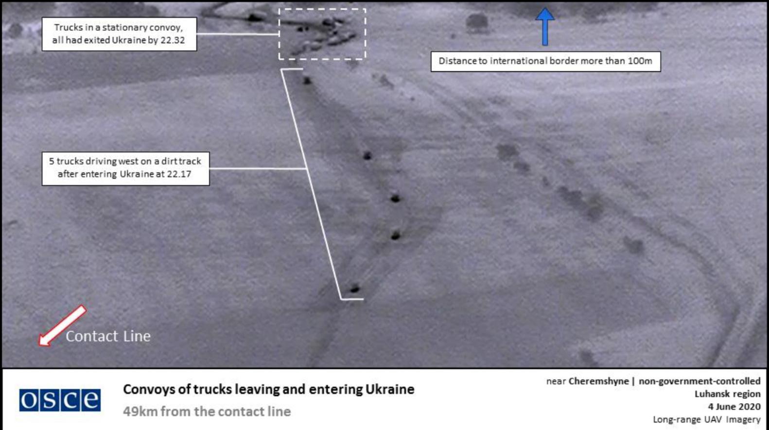 En rysk lastbilskonvoj passerar i hemlighet den ukrainska gränsen