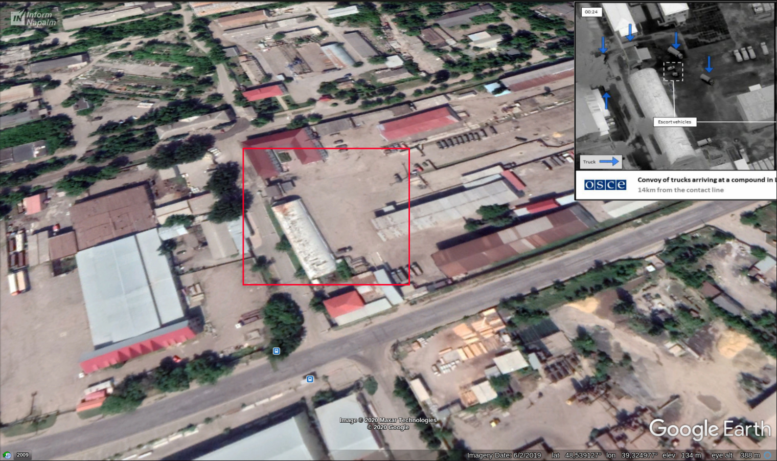 Ryska lastbilar levererar krigsmateriel i Luhansk, östra Ukraina