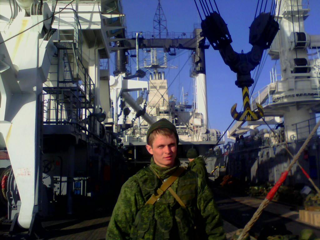 Egor Ivanovitj Birjutjkov på fartyget KIL-158 den 1 mars 2014