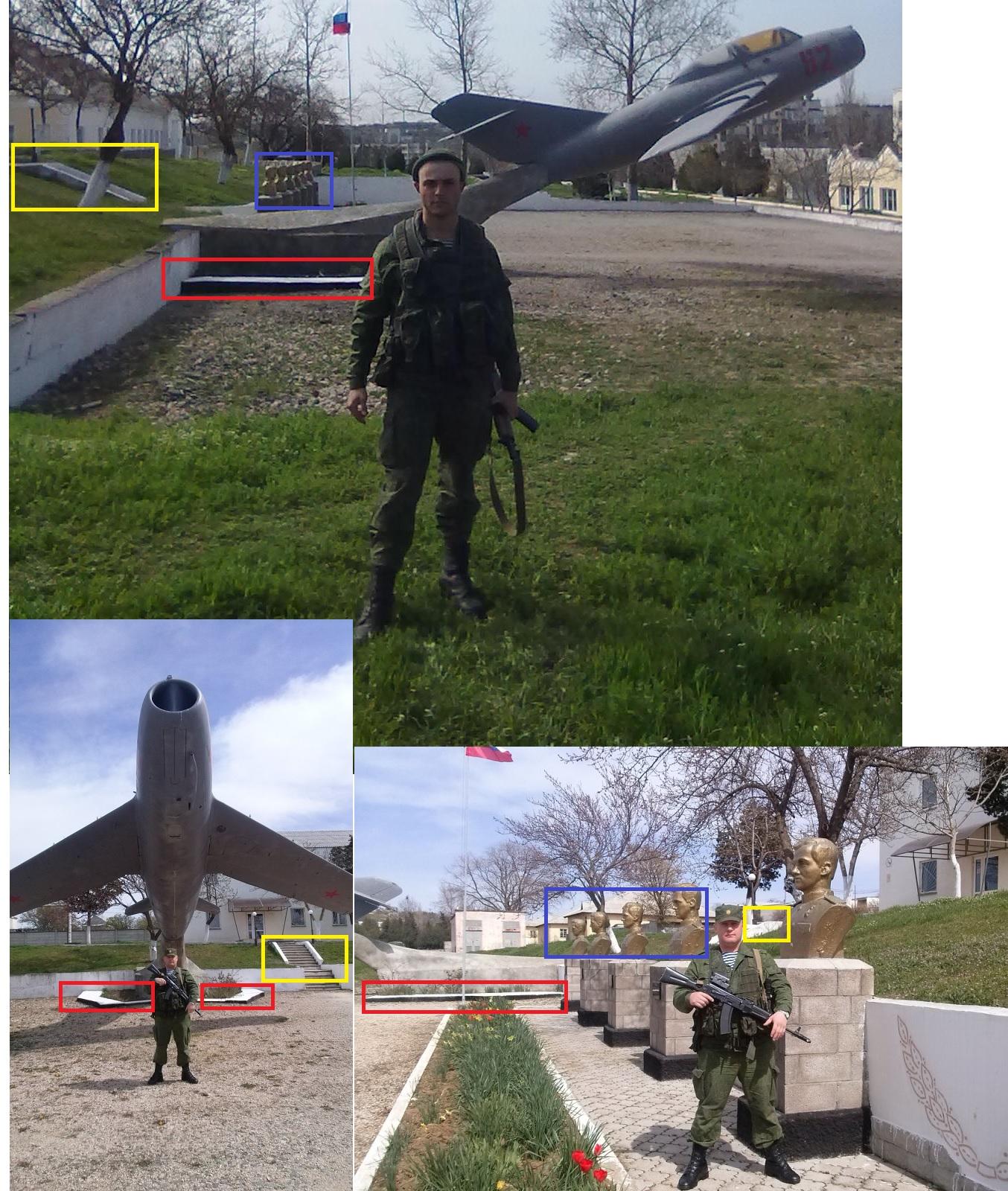 Vergleich von Bildern vom Belbek Luftwaffenstützpunkt, Krim