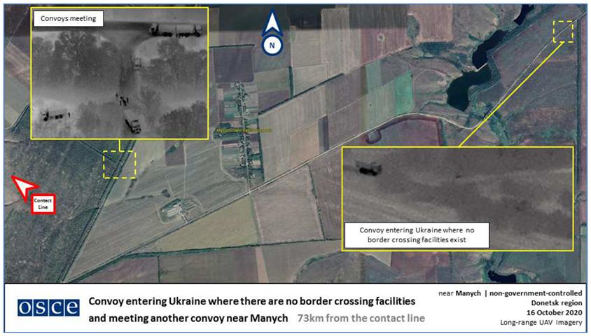 OSSE-uppdraget i Ukraina har upptäckt ryska militära konvojer