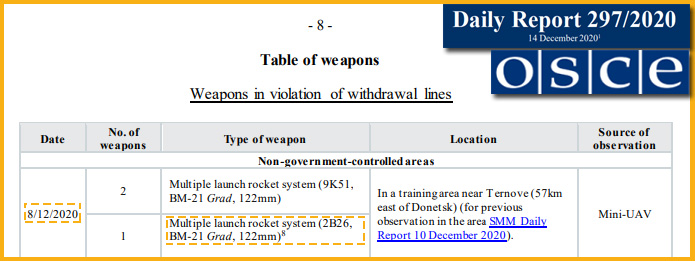 MLRS-systemet 2B26 Grad i OSSE:s SMM-rapport 297/2020