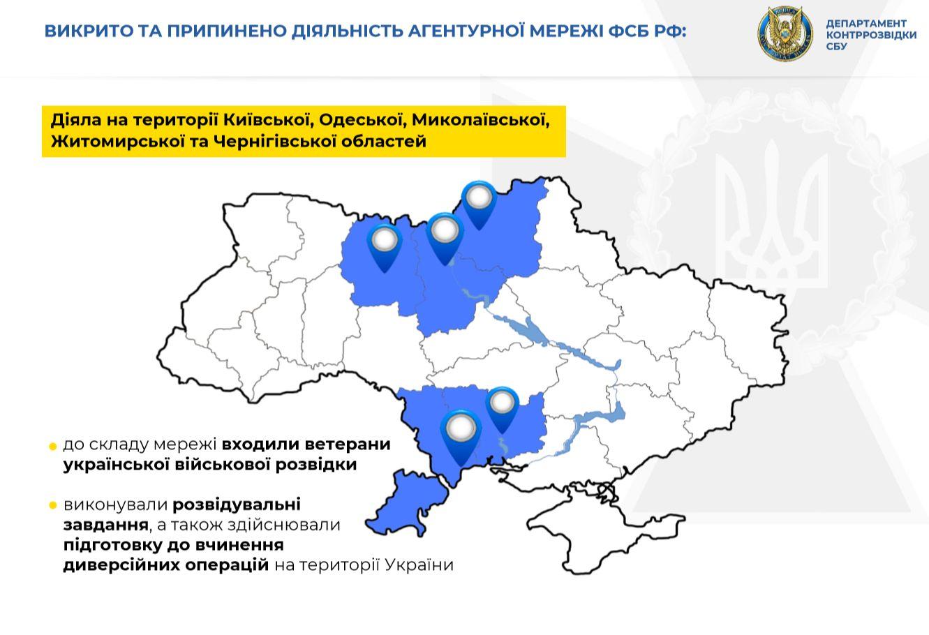 FSB-agenter i Kyiv, Odesa, Mykolaiv, Zjytomyr og Tjernihiv