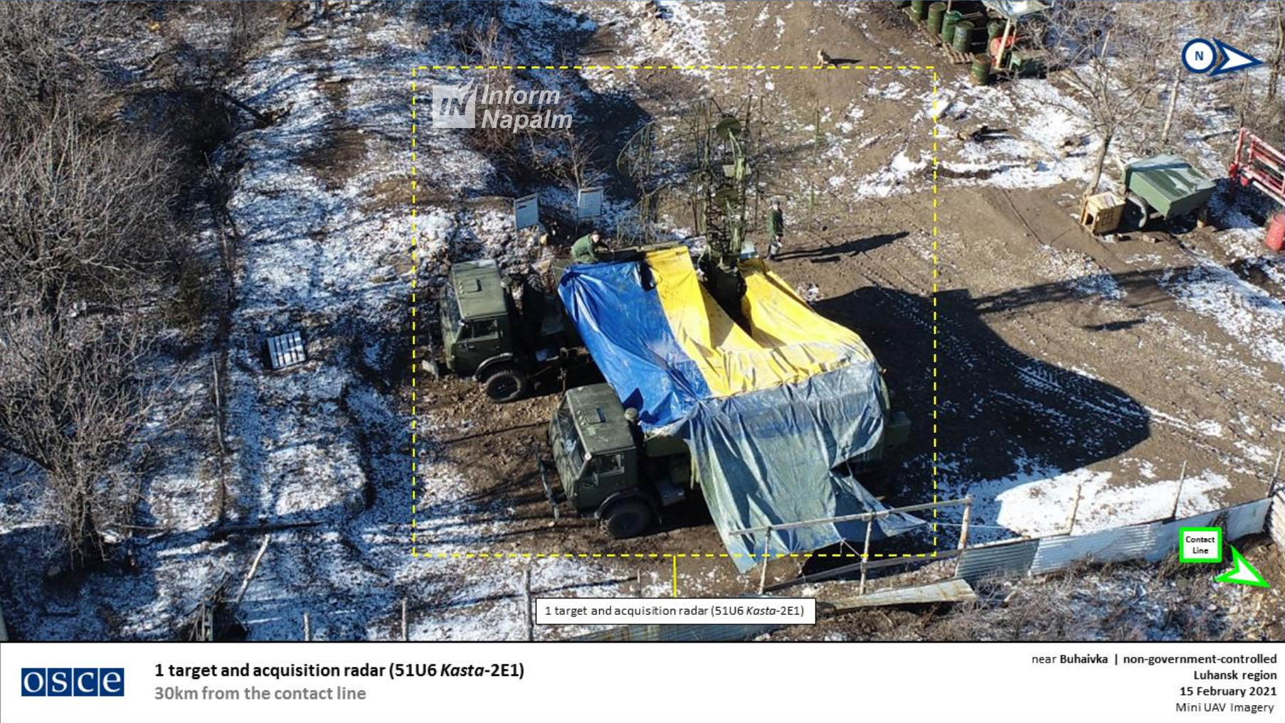 Radarstation KASTA-2E1 dold under en ukrainsk flagga