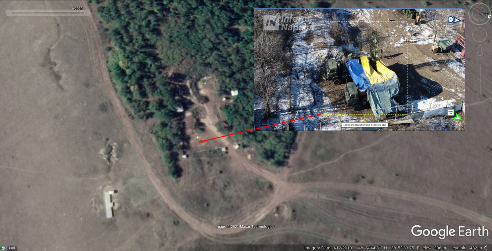 Russian radar system Kasta-2E1 spotted in Donbas 2