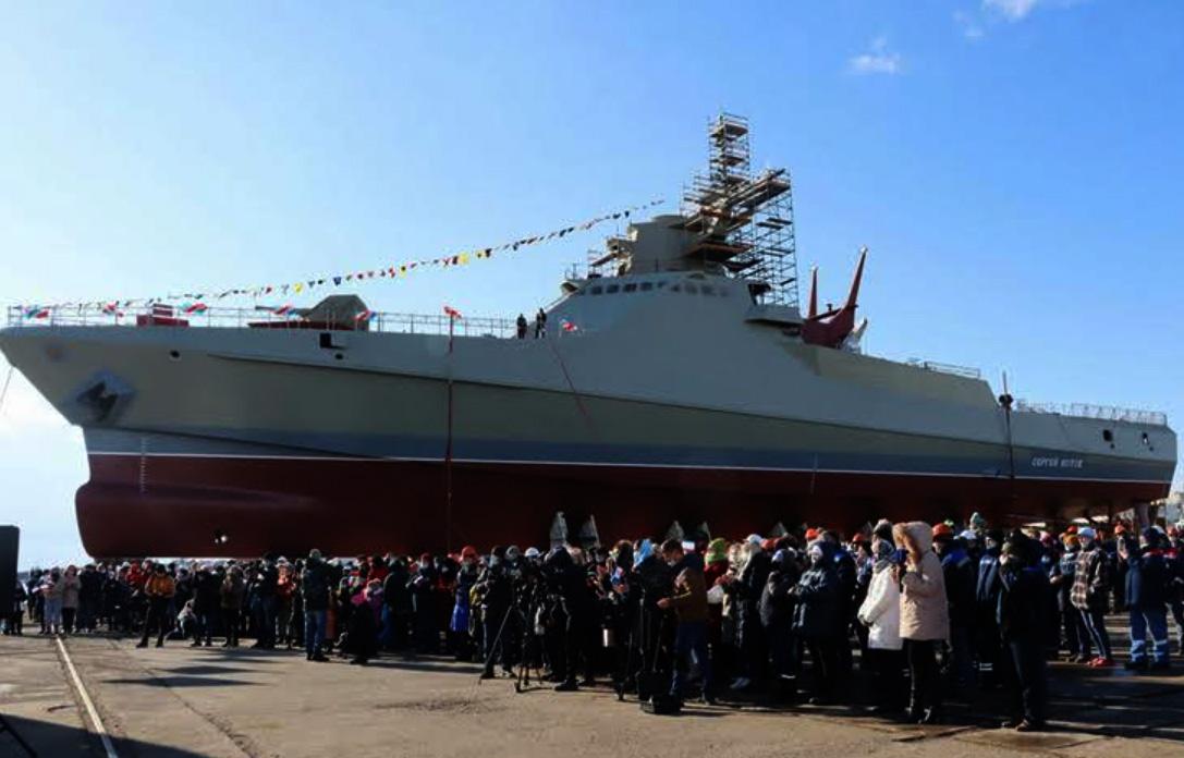 Sjösättning av patrullbåten Sergei Kotov vid Zaliv-varvet