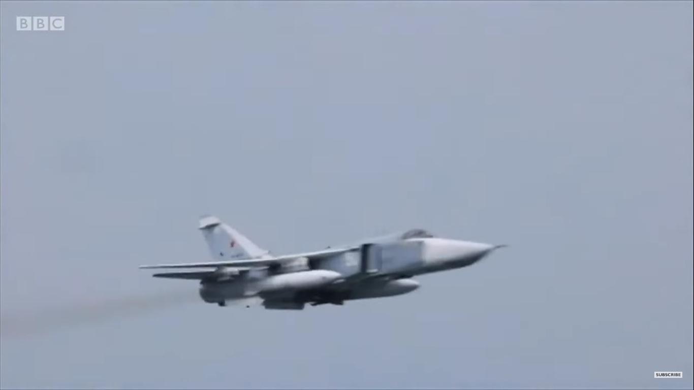 Ett ryskt Su-24M-bombplan nära Krim