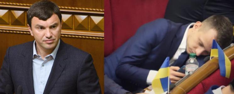 Abgeordneter Andrij Iwantschuk links, Oleksij Ustenko rechts