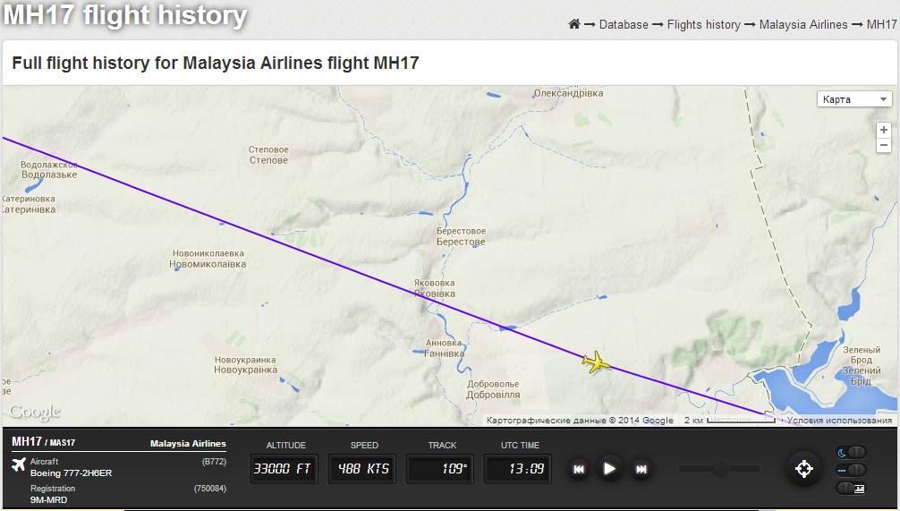 Положение MH17 на 13:09 UTC 17 июля 2014