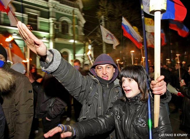 Факельное шествие  российских фашистов в Крыму