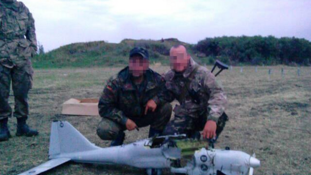 An 'Orlan-10', shot down on July 18, 2014 by paratroopers of the 79th brigade of the Ukrainian Armed Forces