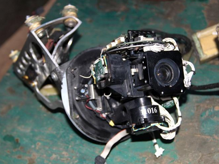 The video camera of a downed 'Orlan-10' drone