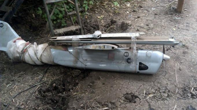 An 'Orlan-10', shot down on July 11, 2014 near Zelenopillya, Luhansk Oblast