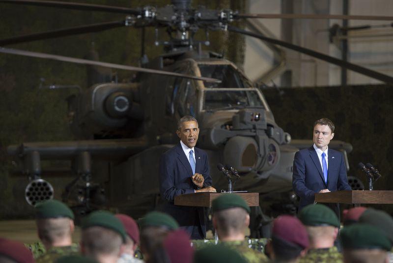 Президент Обама, находясь с визитом в столице Эстонии Таллине, заверил, что США будет ее защищать. (Saul Loeb/AFP/Getty)