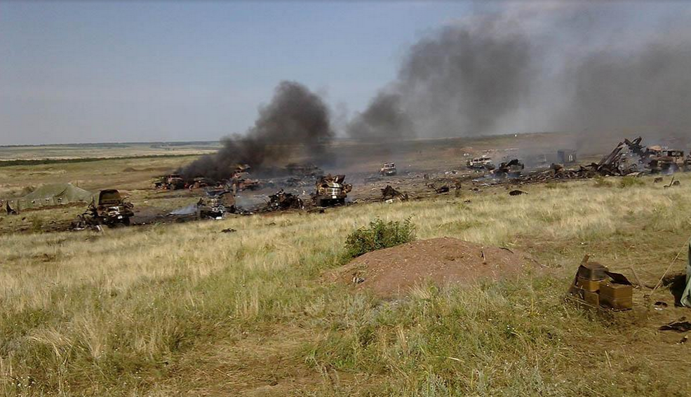 Aftermath of a multiple rocket launcher system attack on the bases of the 24th and 79th brigades of the Ukrainian army on July 11, 2014 near Zelenopillya, Luhansk Oblast. According to the Ukrainian Ministry of Defense, the attack resulted in 19 dead and 93 wounded
