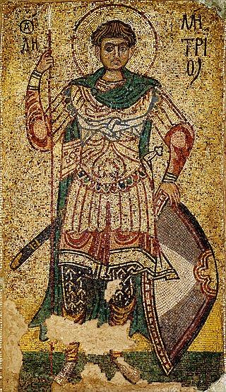 Дмитрий Солунский. Мозаика из Михайловского Златоверхого собора