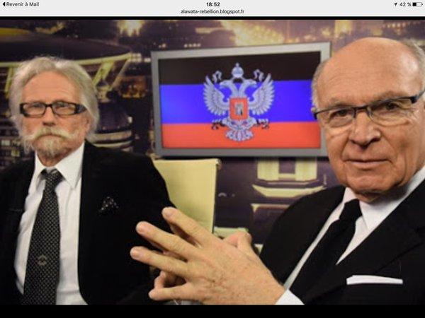 Слева- юрист Josy-Jean Bousquet (Жози-Жан Буске), справа - политик Jacques Clostermann (Жак Клостерманн) во время визита в Донецк