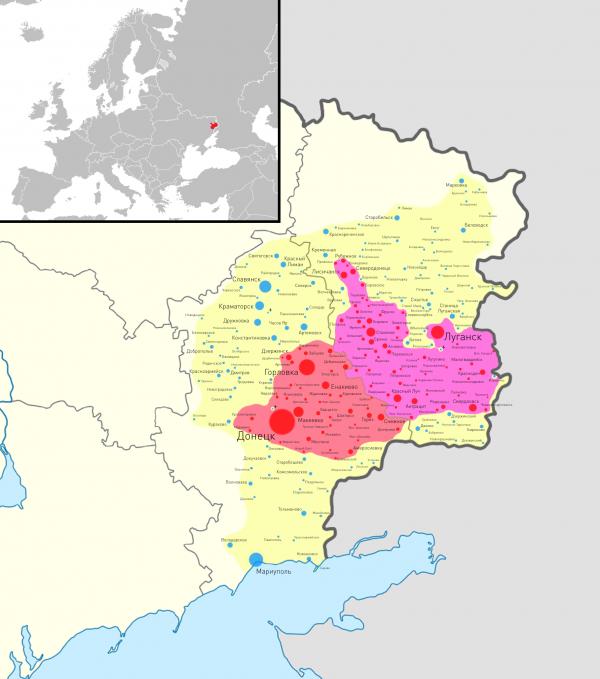 Карта зоны АТО на 16-17 июля 2014 года