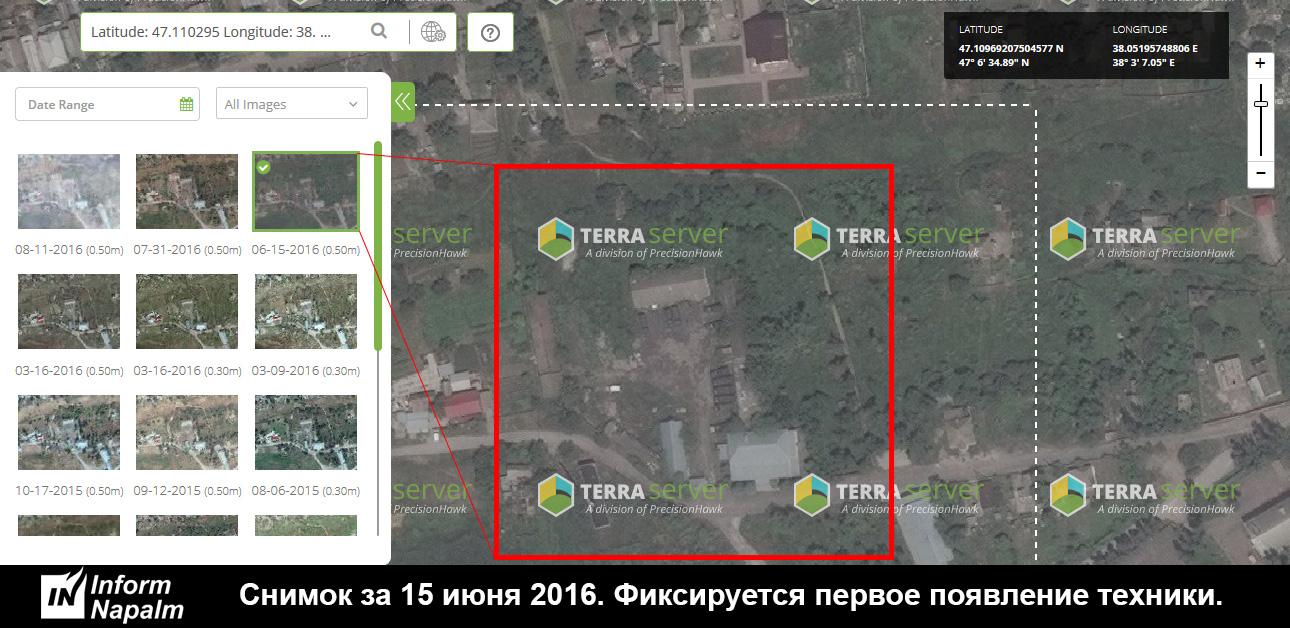 Záběr ze dne 15. června 2016. Zaznamenán první výskyt techniky.