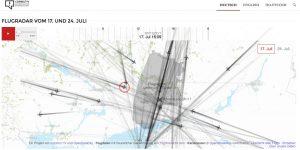 Маршрут MH17 и примерная точка, над которой его начал вести российский радар