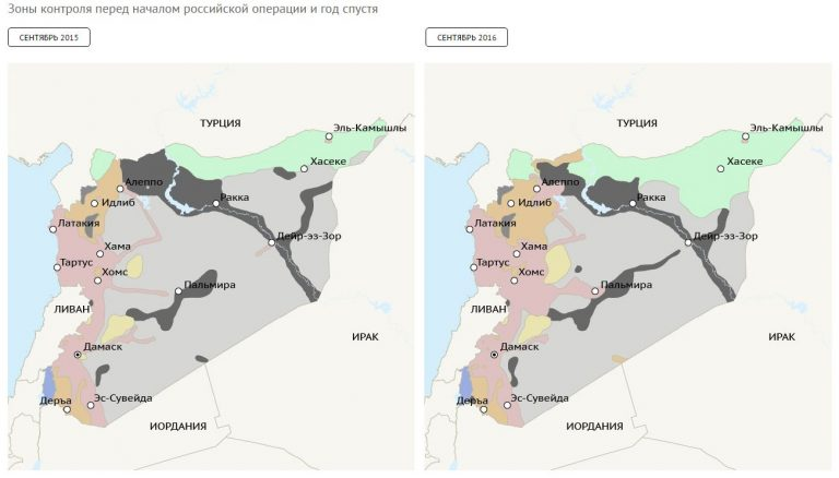 Jeden ruský rok v Sýrii: vlevo stav z roku 2015, vpravo 2016