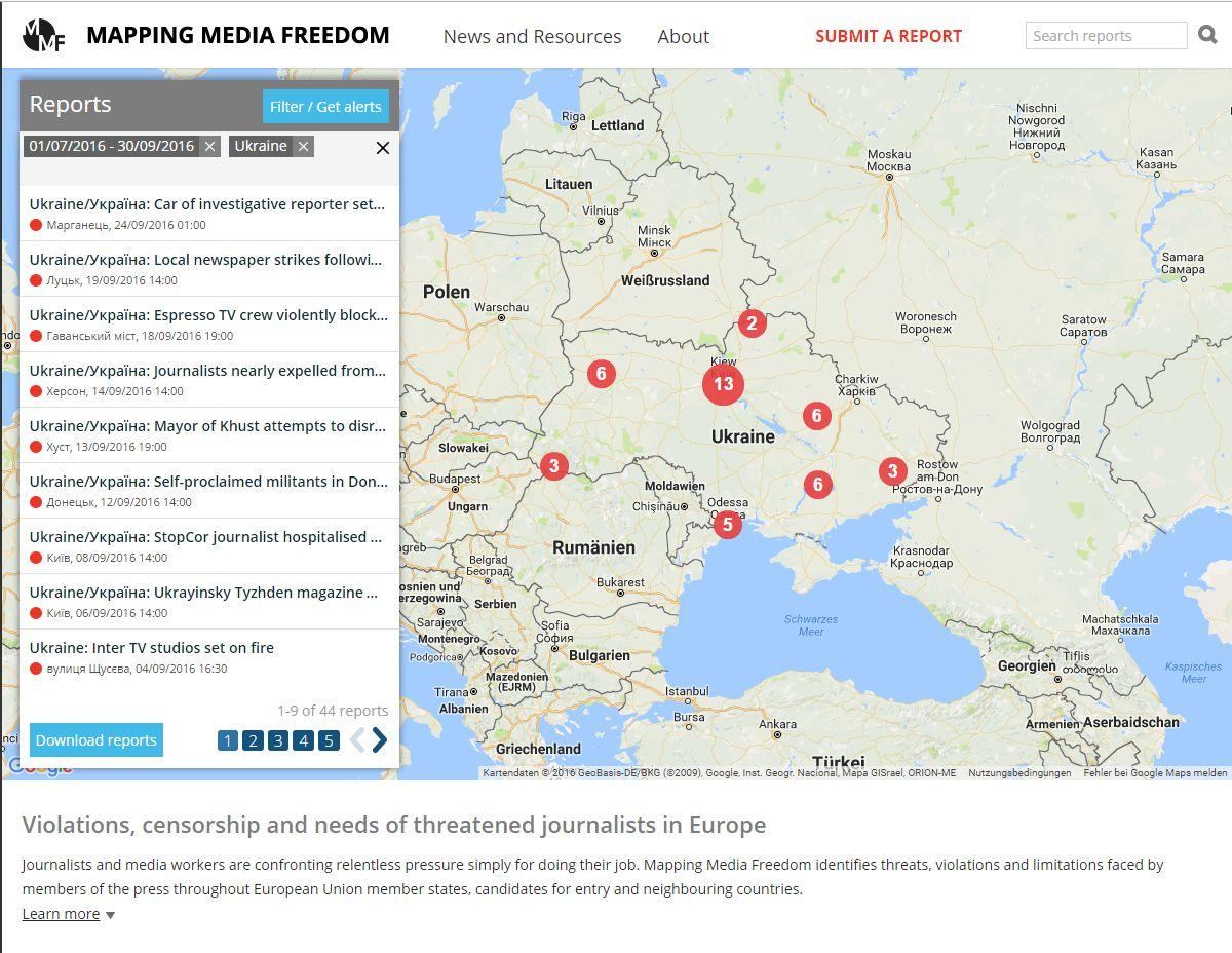 """Нарушение прав журналистов в Украине - 44 случая и """"бронза"""""""