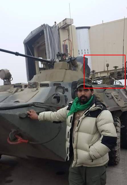 Bepansrat transportfordon BTR-82A med radiostyrd utrustning mot landminor