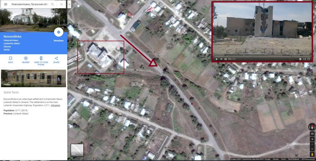 Förstörda husen i riktning mot Luhansk