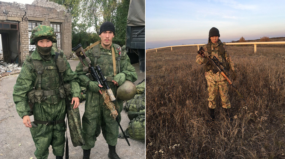 """Снайпер Юрий Петров с """"боевым товарищем"""""""