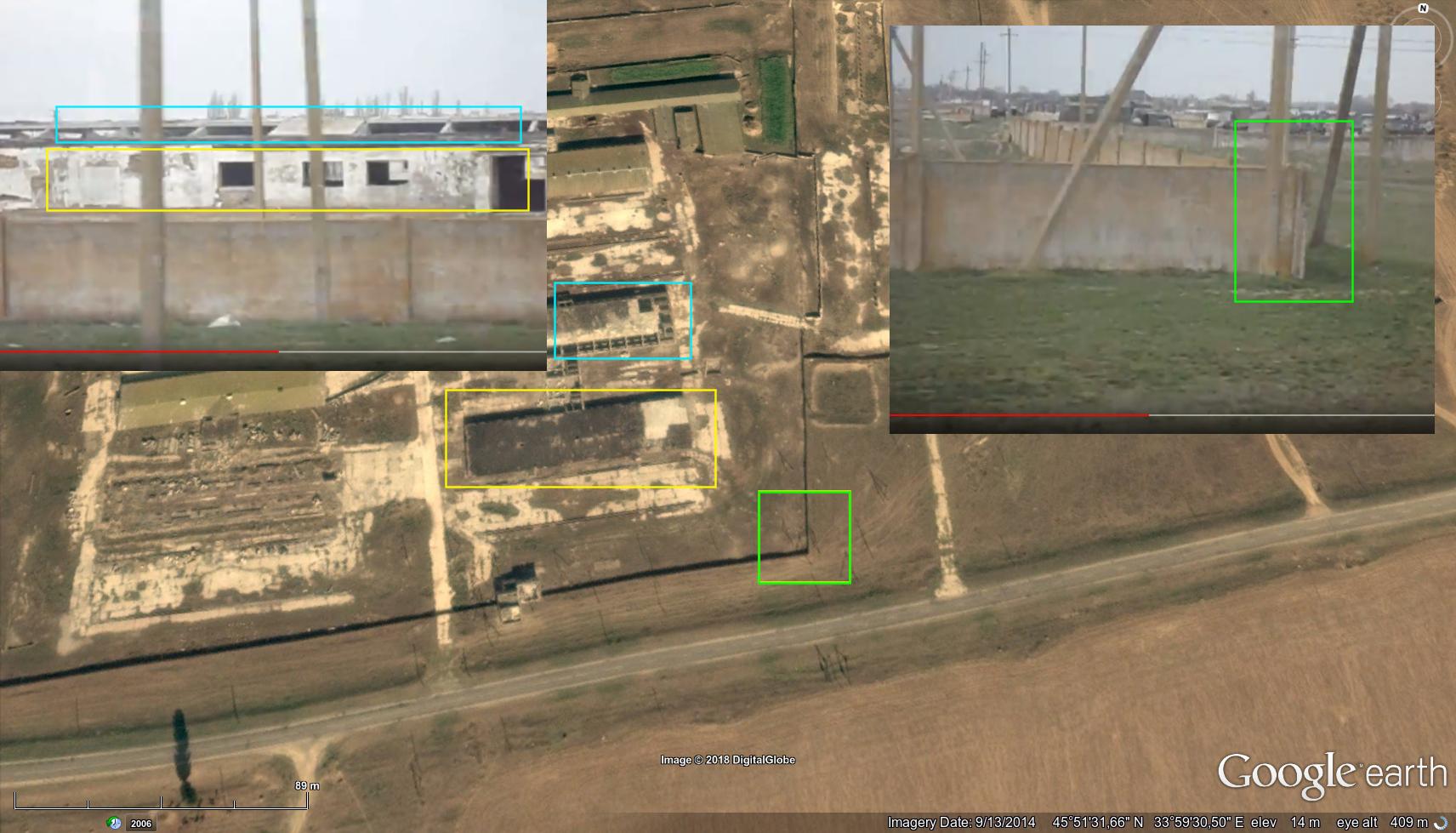 Det stora lägret i byn med militär utrustning är tydligt synligt