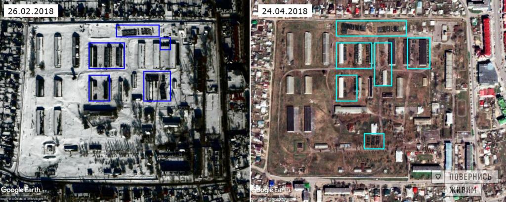Ankomst av 152:a logistikbrigadens militära utrustning till den permanenta utplaceringsplatsen i Liski 2018