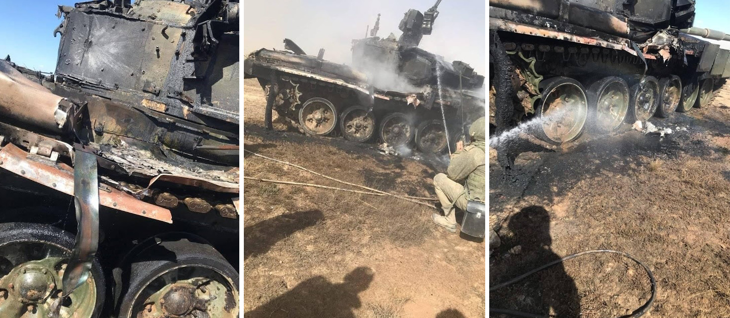 Rysk T-90A-stridsvagn förstörd under en Kaukasus 2020-övning